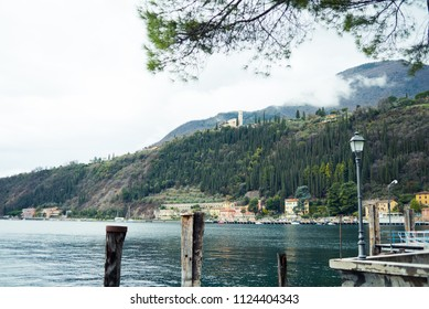 Cozy city on a Garda Lake. Italian architecture and lake view.