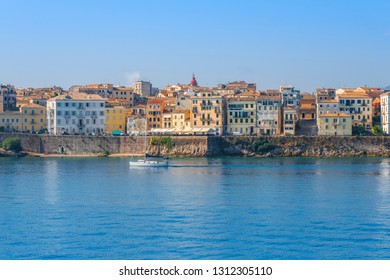 Cozy, colorful houses on Corfu Island, an excellent holiday destination on beautiful island, Ionian sea in Greece