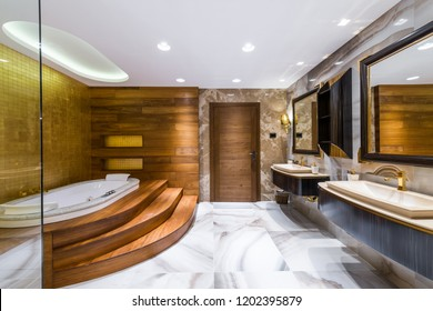 Cozy and comfortable bathroom in luxury interior