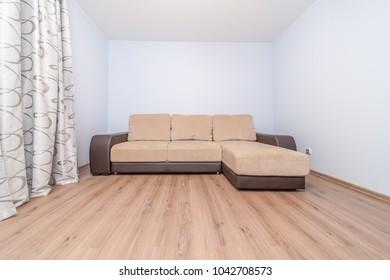Cozy comfortable new sofa standing in empty modern room