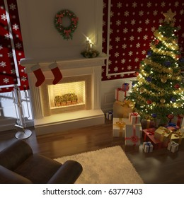 cozy decorated christmas fireplace at night with tree, presents and couch