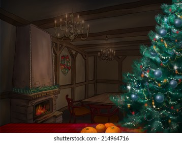 Cozy fabulous room at night, decorated Christmas tree. Christmas room.Fireplace.New Year.