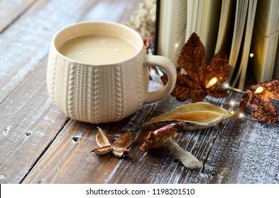 Cozy fall setup coffee