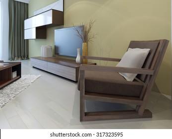 Cozy furniture in modern living room. 3D render