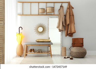 Cozy hallway interior with new stylish furniture
