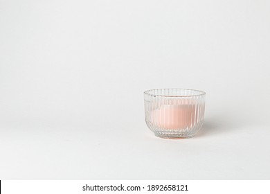 Cozy home interior decor, aromatic candles on white background
