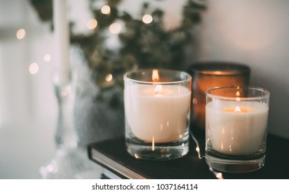 Cozy home interior decor, burning candles