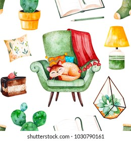 Cozy home seamless pattern with a home plants, green chair with cute kitten, book,tasty cake,cushion,lamp etc.Watercolor Home set.Perfect for wallpaper,print,cover design,invitations,packaging design