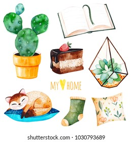 Cozy home set with a home plants,sleeping cute kitten, book,tasty cake,cushion.Watercolor Home collection.Perfect for wallpaper,print,cover design,invitations,packaging design,invitations,scrapbook et