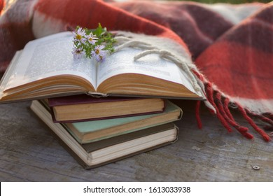 Cozy home still life: opened book with warm plaid on wooden background. Winter holidays, Christmas time concept