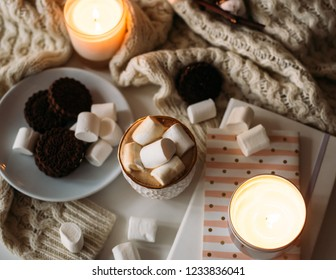 Cozy home winter arrangement, cocoa with marshmallows, homemade