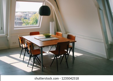 Cozy homey atmosphere in the attic apartment
