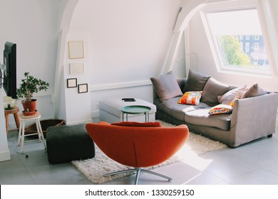 A cozy homey atmosphere in the attic apartment