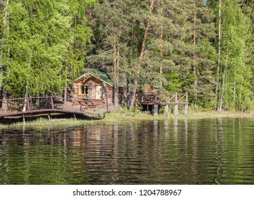 Cozy house on the lake in Karelia, Russia