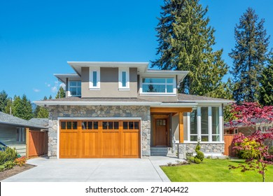 Cozy house on a sunny day. Home exterior.