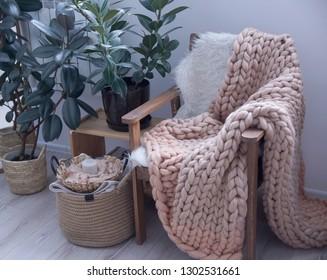 Cozy Hugge merino rug in the interior, Scandinavian style
