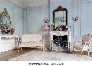 cozy interior of the living room with chic beautiful antique furniture in barocco style