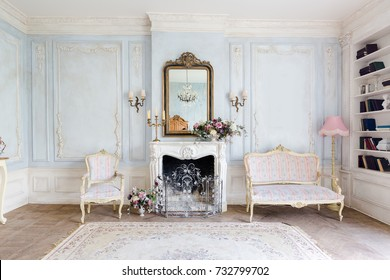 living room antique furniture. Cozy Interior Of The Living Room With Chic Beautiful Antique Furniture In  Barocco Style
