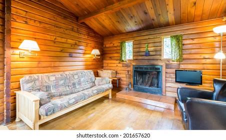Bon Cozy Interior Of A Rustic Log Cabin.