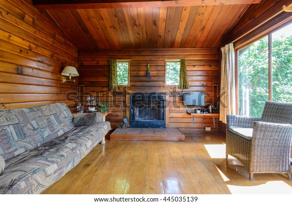 Cozy Interior Rustic Log Cabin Fireplace Royalty Free Stock Image