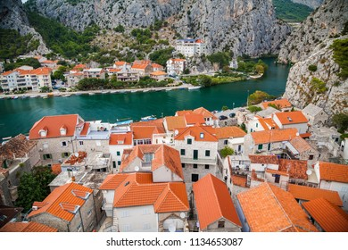 cozy landscape of the small town Omis and river Cetina, Makarska Riviera, Croatia