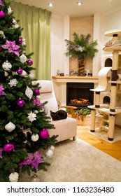 A cozy living room decorated to celebrate Christmas and New Year. Christmas tree with white and violet, purple, pink christmas handmade toys. Sleeping cute cat, ocicat pedigree and burmese cat.