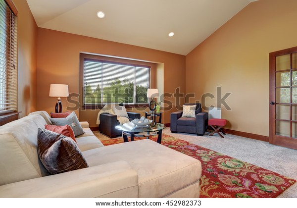 Sensational Cozy Living Room High Vaulted Ceiling Stock Photo Edit Now Gmtry Best Dining Table And Chair Ideas Images Gmtryco