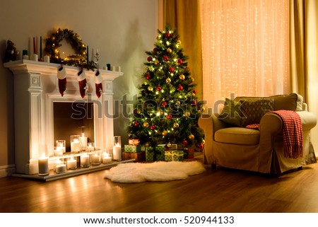 a cozy living room lighted with numerous lights decorated ready to celebrate christmas christmas room