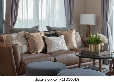 cozy living room style with set of sofa and pillows, interior design concept