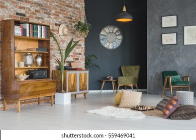 Cozy living room with stylish furniture