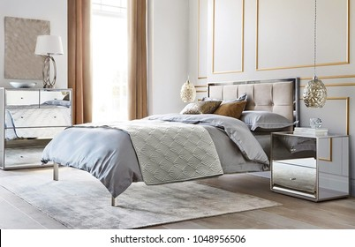 Cozy modern bedroom interior