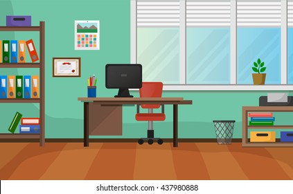 Cozy Office Interior With Wide Window Background