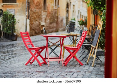 Cozy outdoor cafe in Rome, Lazio, Italy