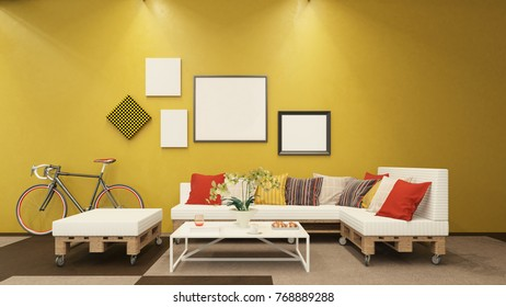 Cozy pallet furniture interior - 3 d render