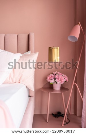 Cozy Pink Bedroom Corner With Baby Pink Velvet Fabric Bed Decorated  Byblanket, Pillows, Lamps