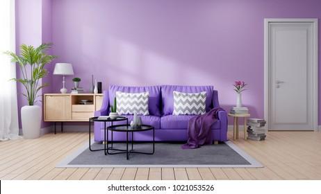 Cozy purple living room interior decorated,Ultraviolet home decor concept ,3d render