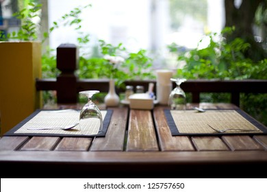Cozy restaurant table setting