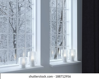 Cozy room. Candlesticks on a windowsill. Winter landscape through the window.