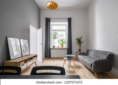 Cozy room in gray and white with wooden cabinet and simple couch