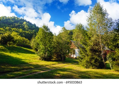 Cozy rural house in the mountains on a green lawn among trees