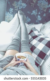 Cozy situation with drinking tea, cozy faded concept
