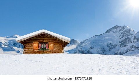 Cozy ski hut in swiss mountains