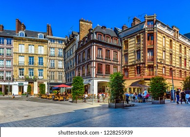 Cozy square with timber framing houses in Rouen, Normandy, France