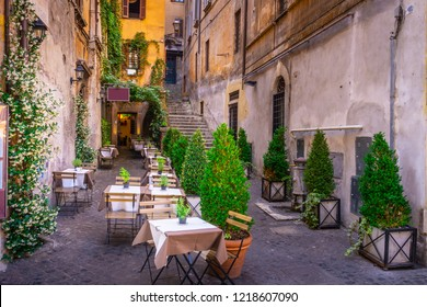 Cozy street in downtown, Rome, Italy, Europe. Touristic attraction of Rome