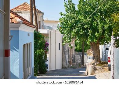 Cozy street in Embonas village, Rhodes, Greece