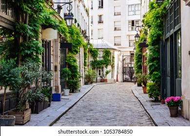 Cozy street in Paris, France. Architecture and landmarks of Paris. Postcard of Paris