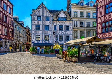 Cozy street with timber framing houses in Rouen, Normandy, France