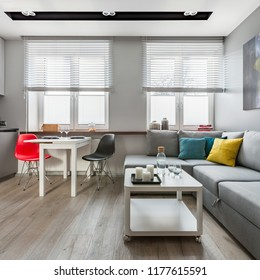 Cozy studio flat with simple table and gray couch