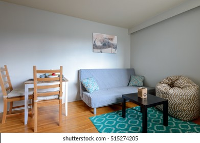 Cozy studio student apartment with a dining and living room.