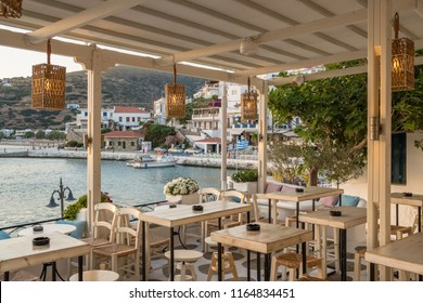 Cozy summer restaurant in picturesque Batsi village on  Andros island, Cyclades, Greece
